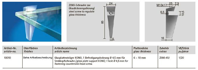 glasplattentr ger kono zn5 zink geschliffen poliert. Black Bedroom Furniture Sets. Home Design Ideas
